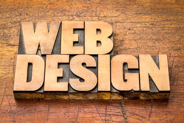 resumen de palabras de diseño web en madera tipo de tipografía - website design fotografías e imágenes de stock
