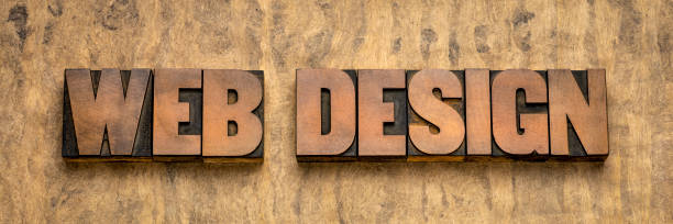 diseño web palabra abstracta en tipo madera - website design fotografías e imágenes de stock