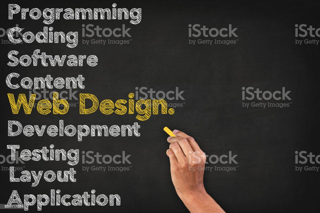 Web Design Word Cloud On Blackboard With Human Hand Web Design Word Cloud On Blackboard With Human Hand Advertisement Stock Photo