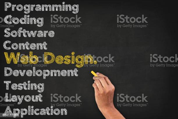 Web Design Word Cloud On Blackboard With Human Hand Stock Photo - Download Image Now