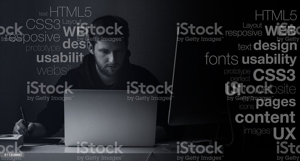 web designer at work stock photo