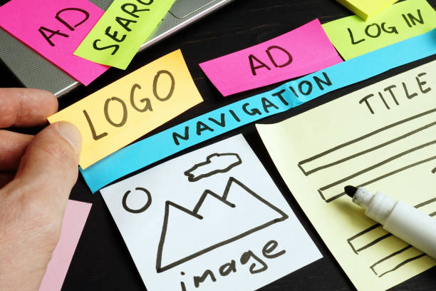 Web designer creating and planning site with sketch and design parts. stock photo