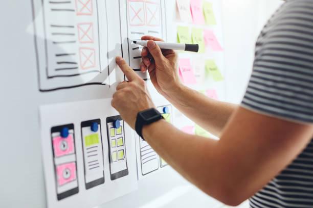 Web-Designer Zeichnung Skizze der Website – Foto