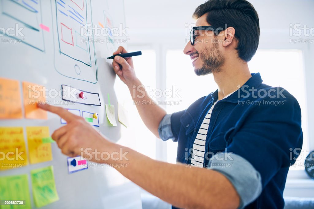 Web designer planning new website layout on whiteboard. Usability concept stock photo
