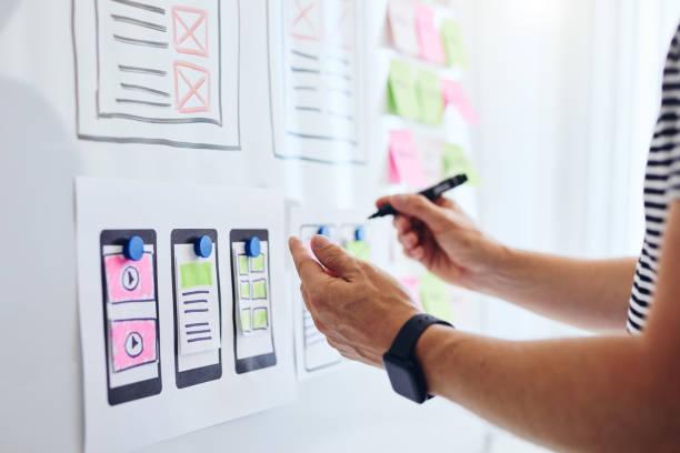 Web designer planning website ux app development stock photo