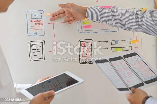 istock Web designer teamwork concept UX UI designer planning layout application for mobile phone mockup on white board 1053484586