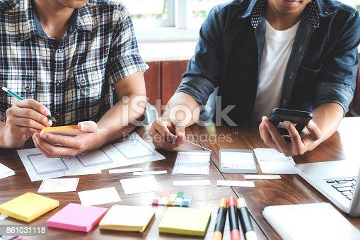 istock Web designer, UX UI designer planning application for mobile phone 861031118