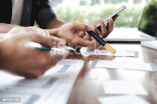 istock Web designer, UX UI designer planning application for mobile phone 861031150