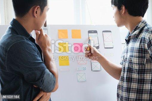 istock Web designer, UX UI designer planning application for mobile phone 861031164