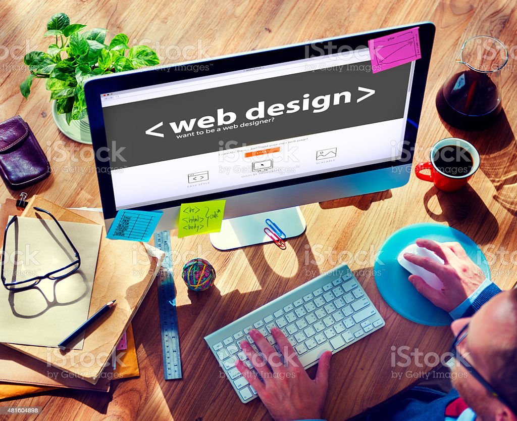 Web Designer Working on a New Project stock photo