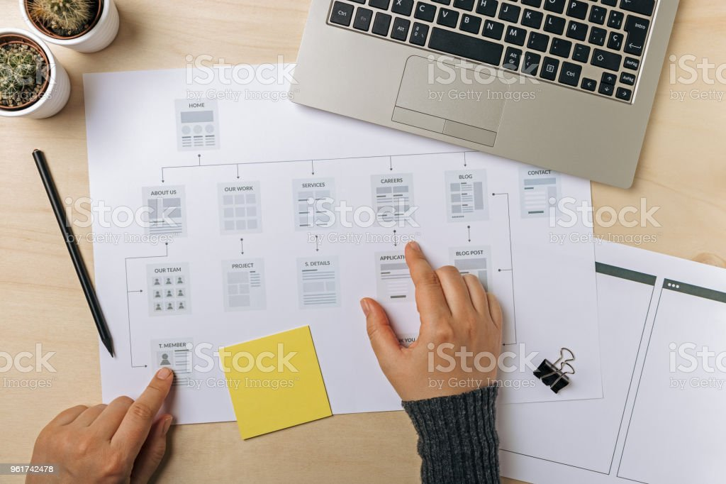 Web designer working on website sitemap royalty-free stock photo