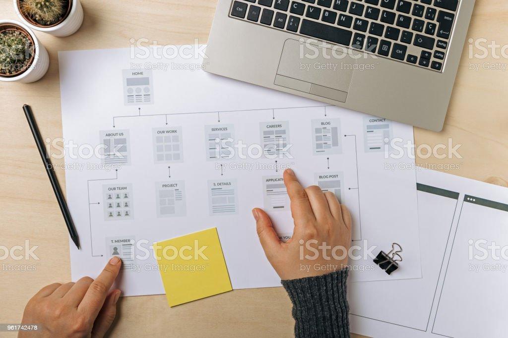 Web designer working on website sitemap stock photo