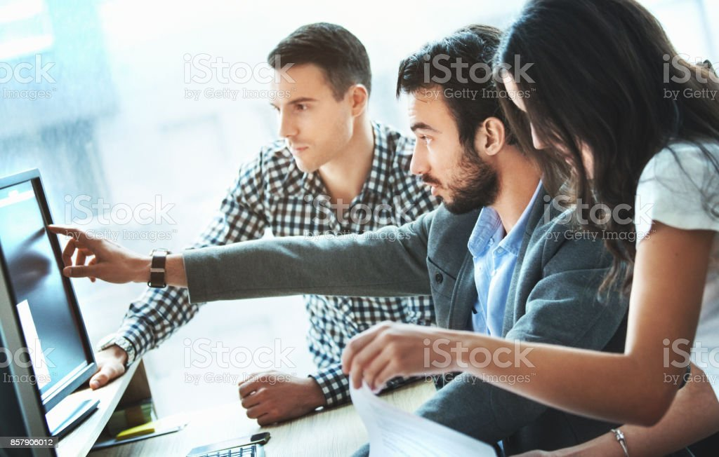 Web designers at work. stock photo
