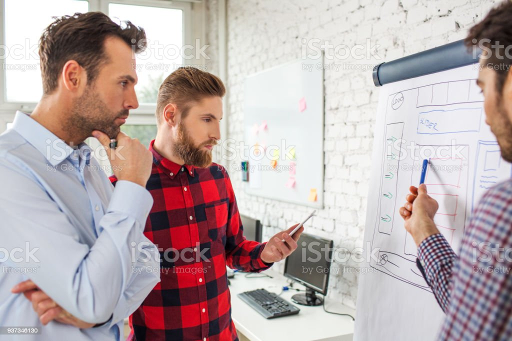 Web designers standing at office planning website layout on flipchart stock photo