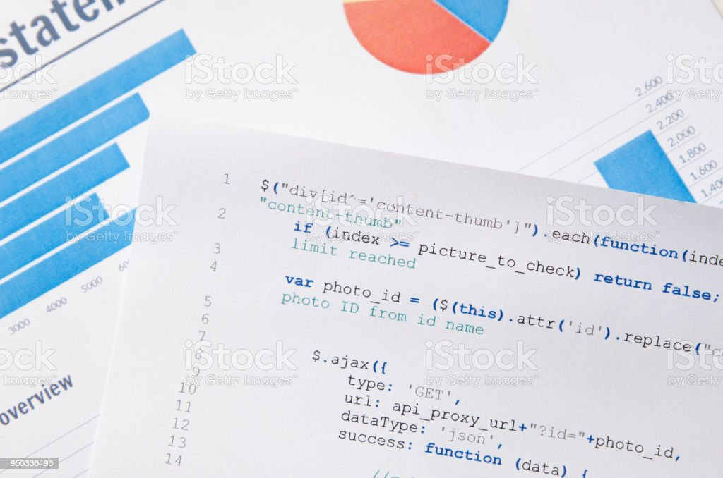 Web developer programming code printed on a piece of paper royalty-free stock photo