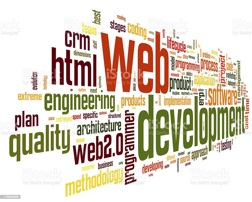 Web development concept in word tag cloud royalty-free stock photo