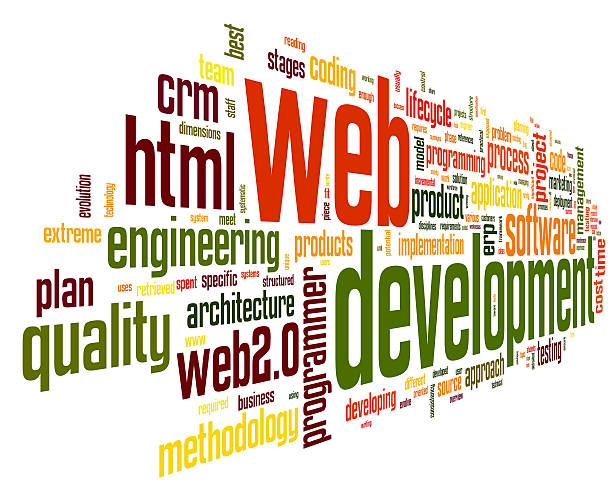 Web development concept in word tag cloud stock photo