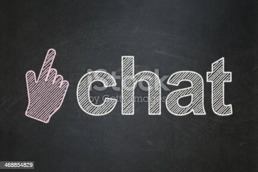 istock Web development concept: Mouse Cursor and Chat on chalkboard background 468854829