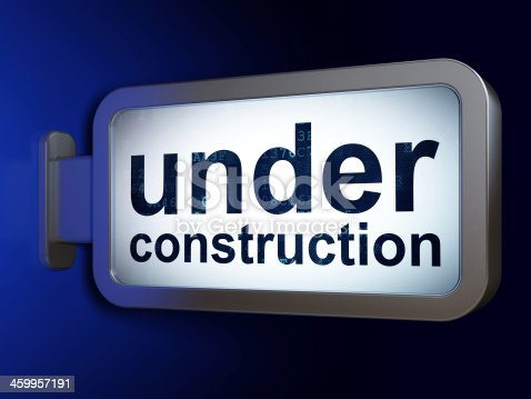 istock Web development concept: Under Construction on billboard backgro 459957191