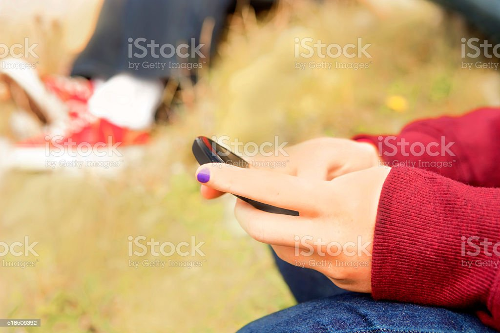 Web feed on mobile phone stock photo