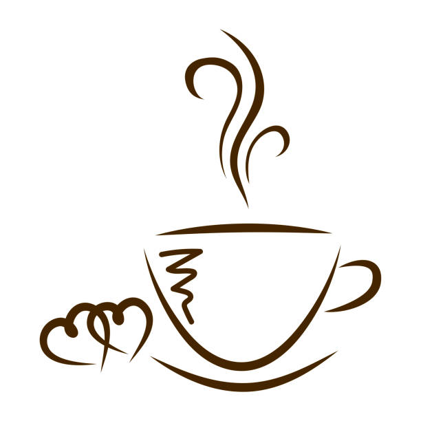 web-symbol tassen kaffee und herzen isoliert - www kaffee oder tee stock-fotos und bilder