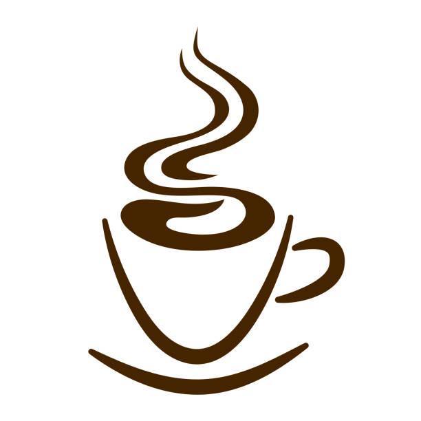 web-symbol tassen kaffee und dampf isoliert - www kaffee oder tee stock-fotos und bilder