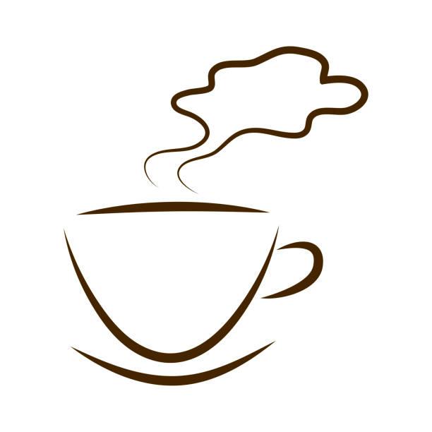 web-symbol tassen kaffee mit steam cloud - www kaffee oder tee stock-fotos und bilder