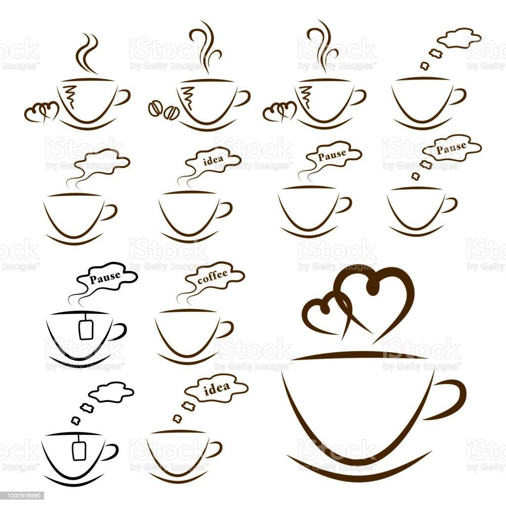 web icons coffee and tea set isolated stock photo