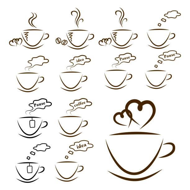 web icons kaffee und tee-set isoliert - www kaffee oder tee stock-fotos und bilder