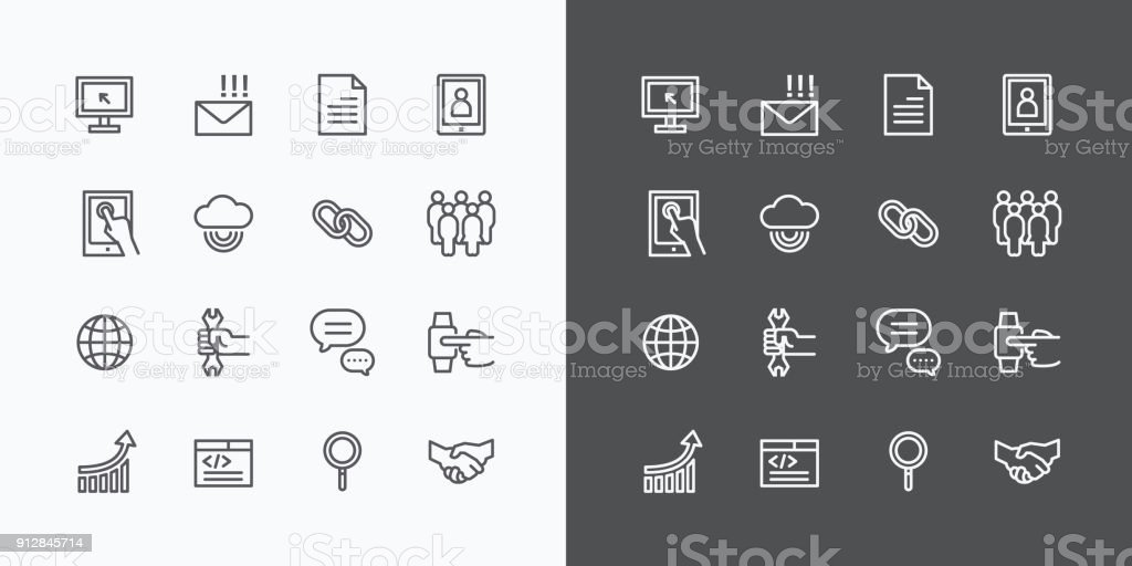 Conjunto de linha de ícones da Web. Vetor Design. - foto de acervo