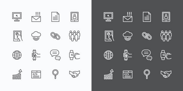web icons line set. vector design. - icone foto e immagini stock