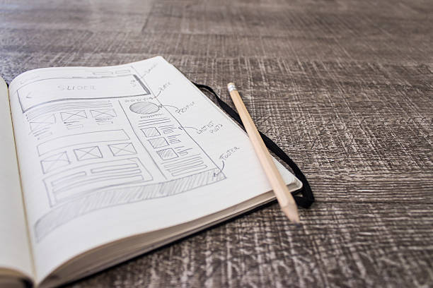 web layout sketch paper - sketch stock pictures, royalty-free photos & images