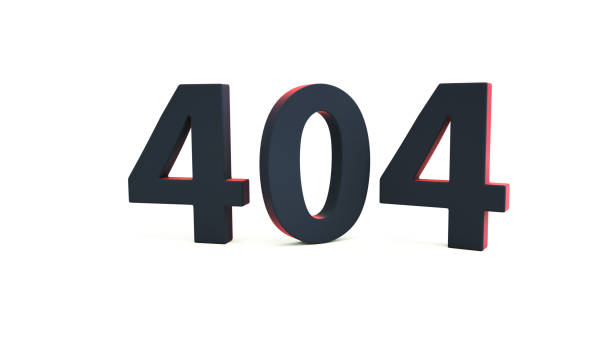 404 web page error message sign isolated on white. Computer network system problem. Webpage maintenance, Technical problem. 3d illustration stock photo