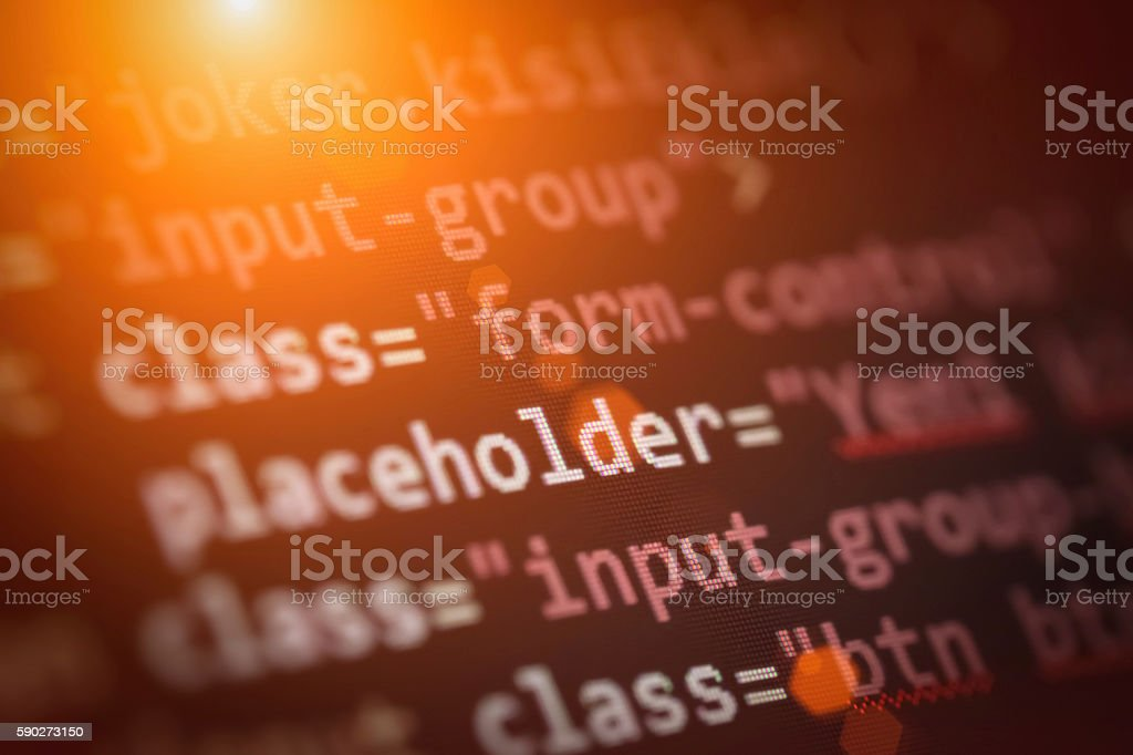 web page source codes macro stock photo