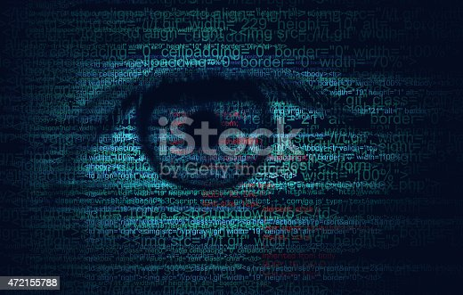 Web Program Code with Human Eye -  Blue concept Background