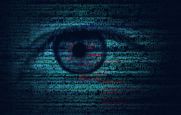 Código Web do programa e olho humano-conceito de fundo - foto de acervo