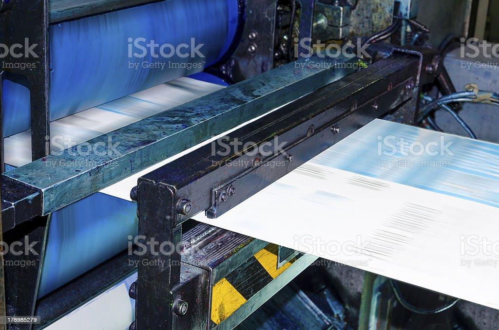 Web set Printing machine runs at high speed publishing newspaper stock photo