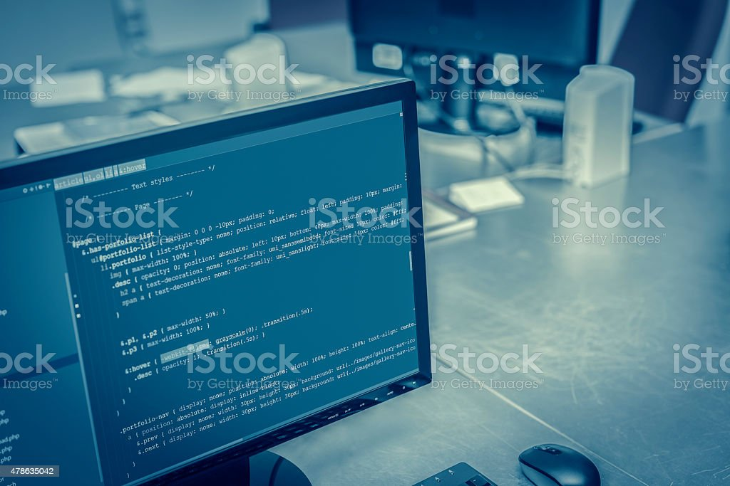 Web site codes on computer monitor at office stock photo