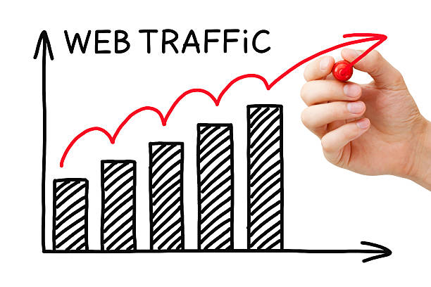 Web Traffic Graph Concept Hand drawing Web Traffic graph concept with marker on transparent wipe board.. traffic stock pictures, royalty-free photos & images