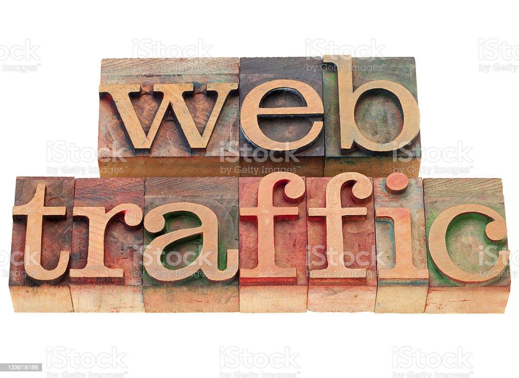 web traffic in letterpress type royalty-free stock photo