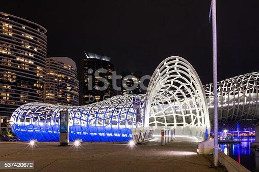 istock Webb bridge with modern building bakground 537420672