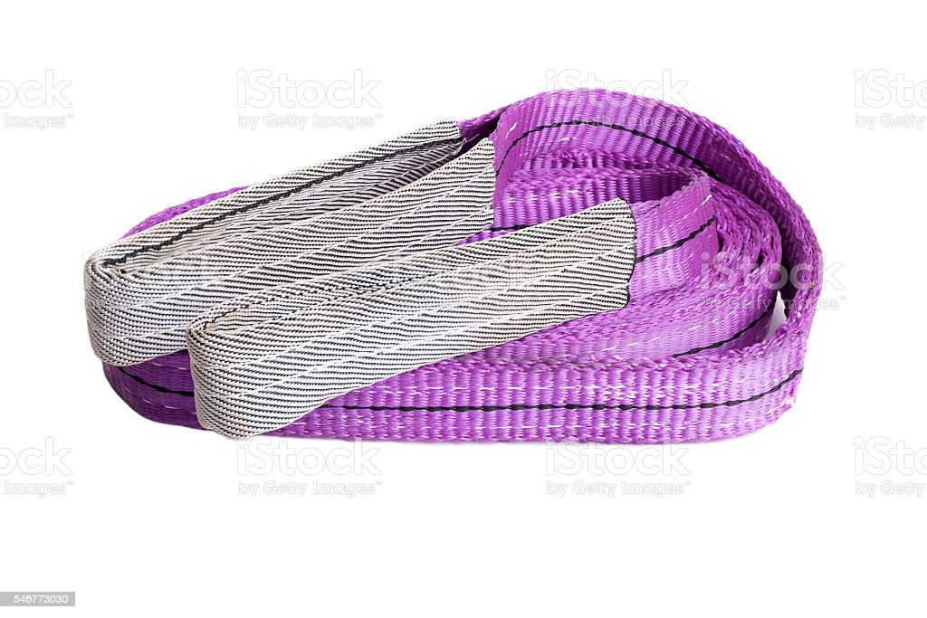 webbing sling or soft sling for heavy load lifting stock photo