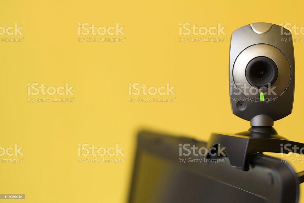 Webcam attached to the top of a laptop stock photo