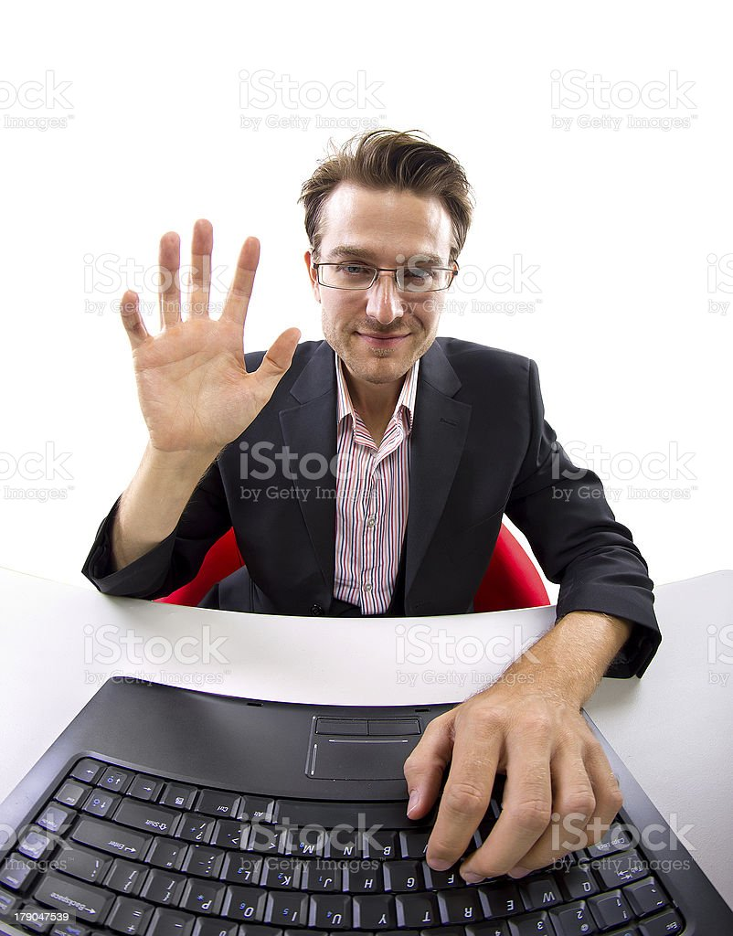Webcam View of a Businessman on Video Conference stock photo