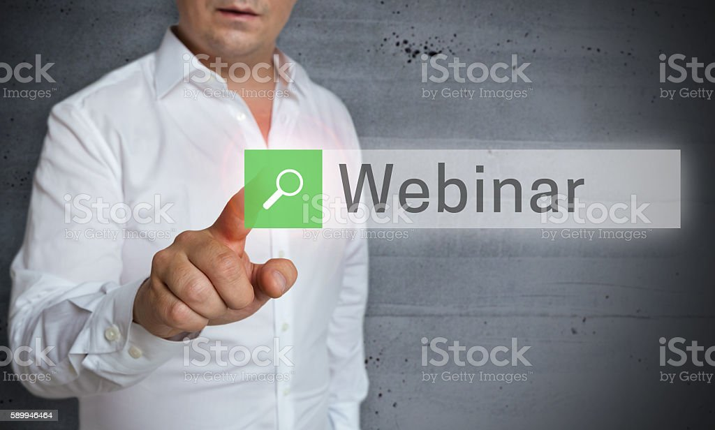 webinar browser is operated by man concept stock photo