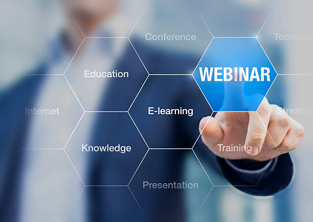 webinar concept, businessman doing online presentation - web conference stock photos and pictures