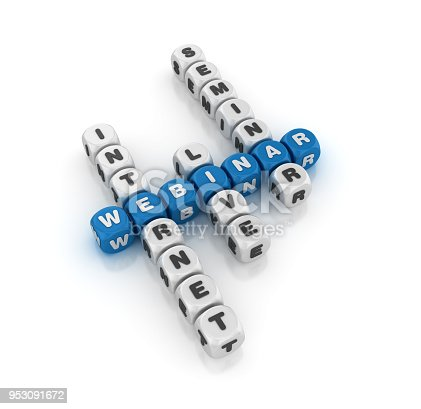 Webinar Concept Crossword - White Background - 3D Rendering
