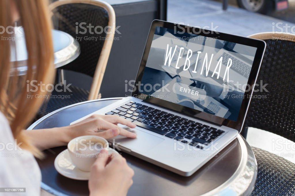 webinar online, internet education stock photo