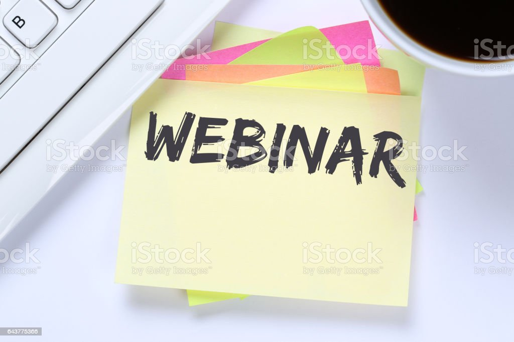 Webinar online workshop training internet learning teaching seminar education stock photo