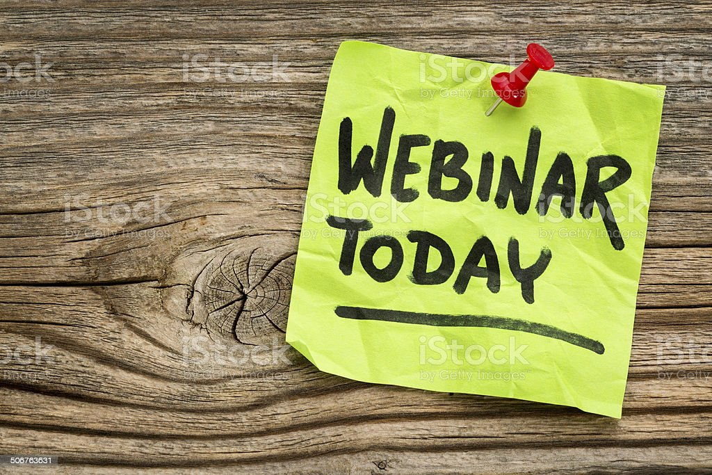 webinar today reminder note stock photo